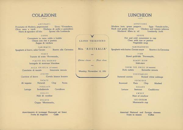 Lloyd Triestino M/v Australia 12 November 1951 first class menu, inside spread. From the collection of ESA member AJAY.