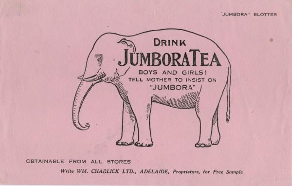 JumboraTea blotter (William Charlick Ltd). Illustration from A Package Tour - Tuckwell & O'Neill.