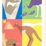 'Season's greetings' with koala, emu, echidna and kangaroo, printed for the Red Cross by Bay Series, 20 x 11.5 cm. Circa 1990s.