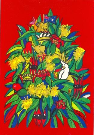 'Australian Gum', postcard, painting by Christopher Vine. 18 x 12 cm.