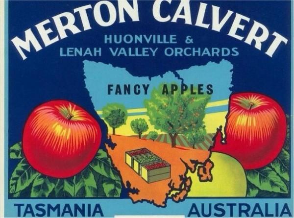 Merton Calvert: Huonville & Lenah Valley Orchards, 22 x 27 cm, circa 1940s.
