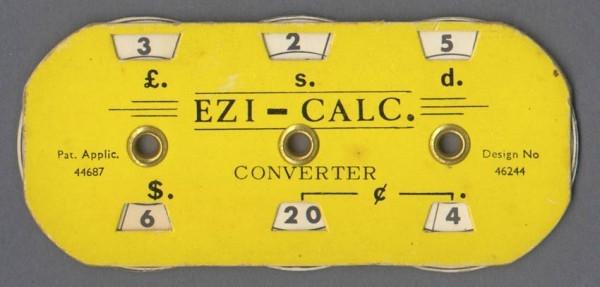 Ezi-Calc. converter, 46x105cm, c1966. Collection of Andrew Hillier.
